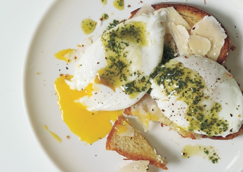 poached-eggs-and-parmesan-cheese-over-toasted-brioche-with-pistou